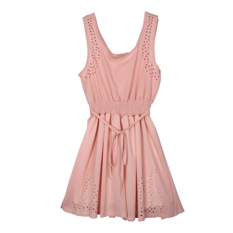Pink Summer Sleeveless Hollow Out Dress - Girly Got Style