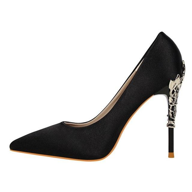 Silk Formal Satin Gold Heel Stilettos - Girly Got Style