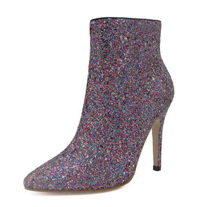 Pointed Sequined High Heel Boots - Girly Got Style