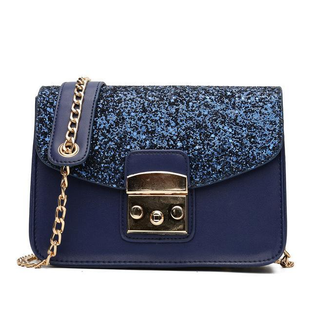 Sequined Leather Flap Bag - Girly Got Style