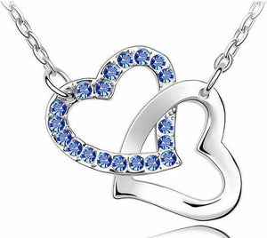 Double Heart Pendant Necklace - Girly Got Style