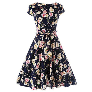 Floral Summer Short Sleeve Dress - Girly Got Style