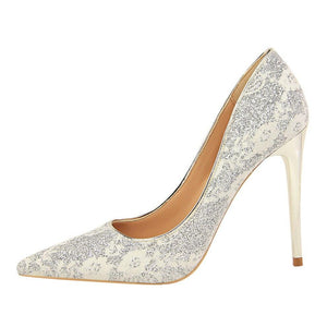 Glitter Pointed Toe Formal Stilettos - Girly Got Style