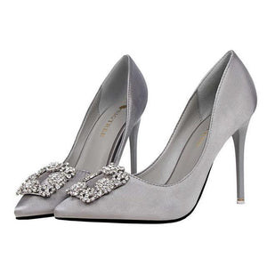 Velvet Crystal High Heels - Girly Got Style