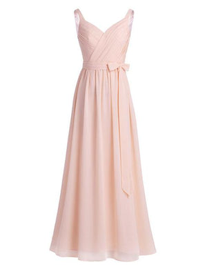 V-Neck Chiffon Elegant Formal Gown - Girly Got Style