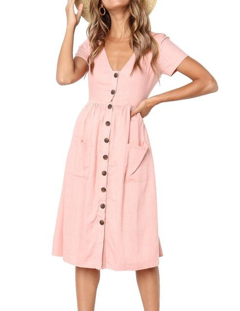 Deep V-Neck Long Beach Dress - Girly Got Style