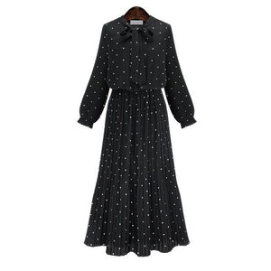 Round Neck Long Sleeve Spotty Dot Dress - Girly Got Style