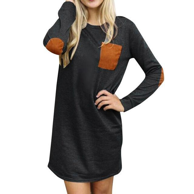 Long Sleeve Elbow Patch Sweater Dress - Girly Got Style