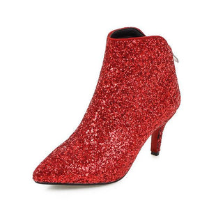 Sequined Bling Ankle Boots - Girly Got Style