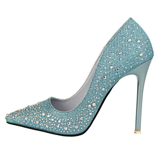 Elegant Rhinestone Slim Heels - Girly Got Style