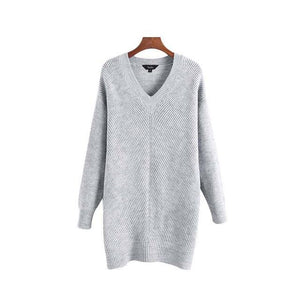 Loose V-neck Long Oversize Pullover - Girly Got Style
