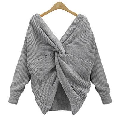 V-neck Back Bow Knitted Loose Sweater - Girly Got Style