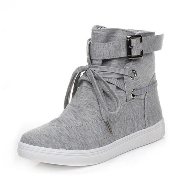 Lace Up Buckle Casual Sneakers - Girly Got Style