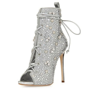 Classy Open Toe Crystal Boot High Heels - Girly Got Style