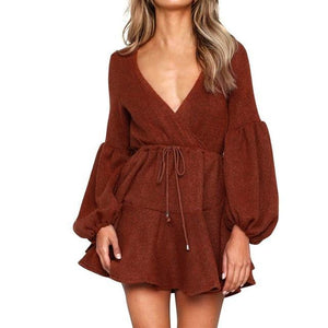 Loose Long Sleeve V-Neck Pleated Mini Dress - Girly Got Style