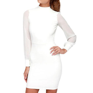Mini Long Mesh Sleeve Backless Dress - Girly Got Style