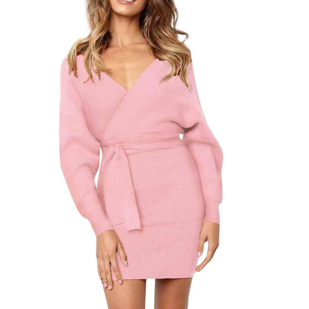 Deep Cross V-Neck Long Sleeve Dress - Girly Got Style