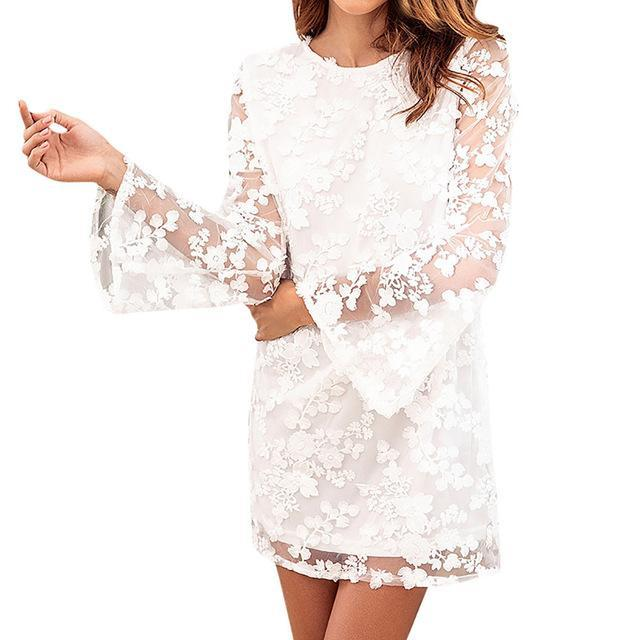 White Lace Embroidery Mini Dress - Girly Got Style