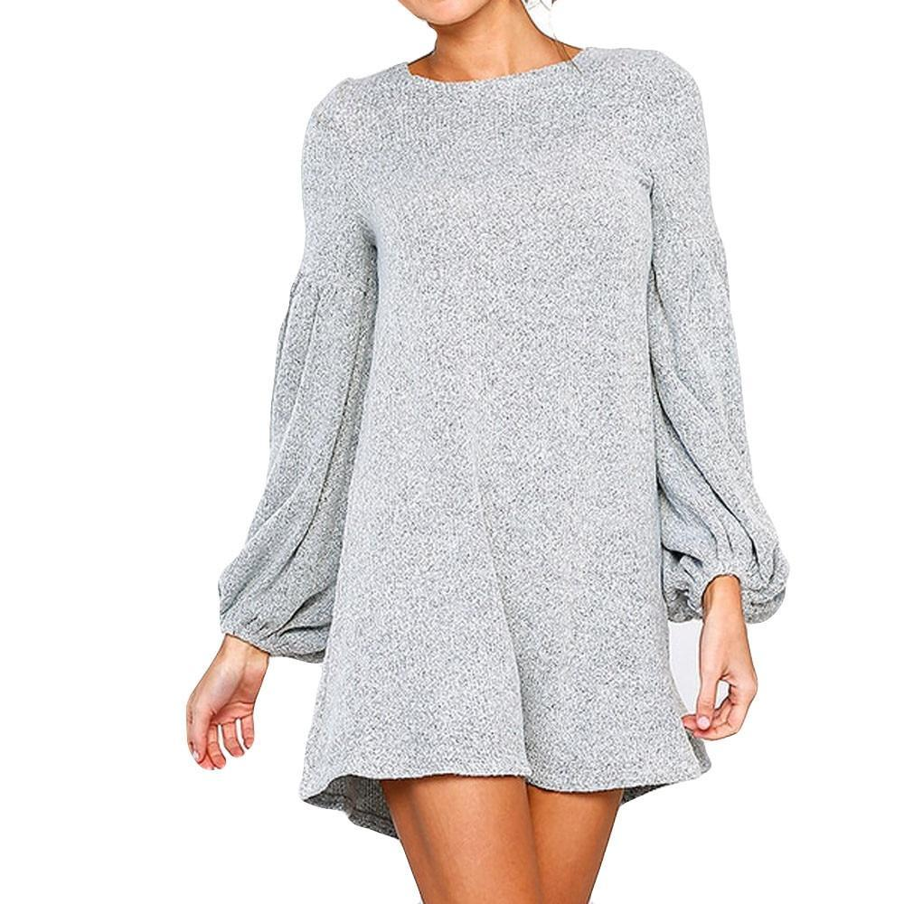 Long Sleeve O-Neck Mini Dress - Girly Got Style
