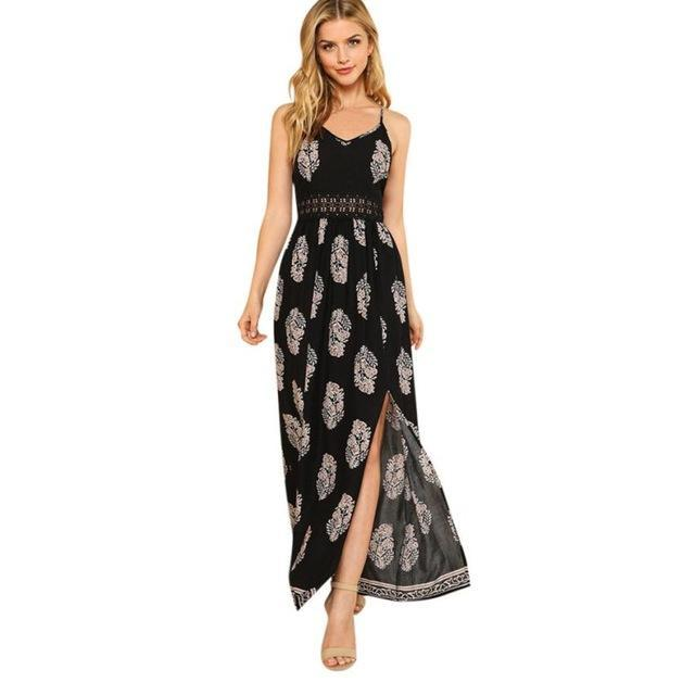 Shallow Slit Maxi Dress - Girly Got Style