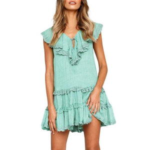 V-Neck Bow Tie Summer Dress - Girly Got Style