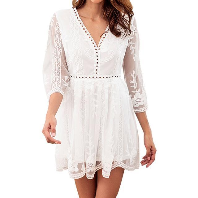 White Lace Summer Dress - Girly Got Style