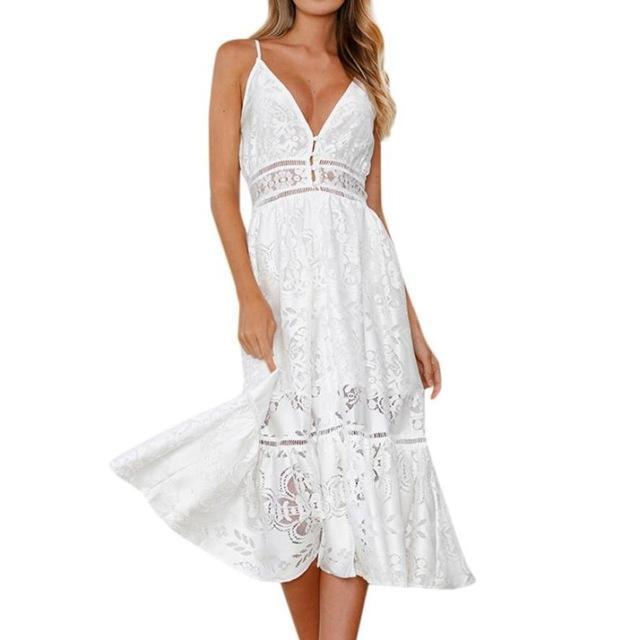 Lace Strapped Maxi Dress - Girly Got Style