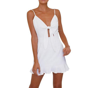 Hollow Out Bow Sundress - Girly Got Style