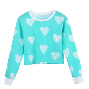 High Waist Hearts Pullover - Girly Got Style