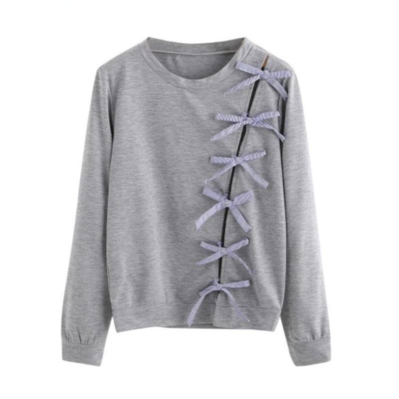 Front Strand Bow Tie Sweatshirt - Girly Got Style
