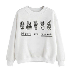 Plants Are Friends Pullover - Girly Got Style