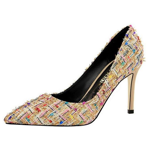 Pattern Fabric Retro Thin Heels - Girly Got Style