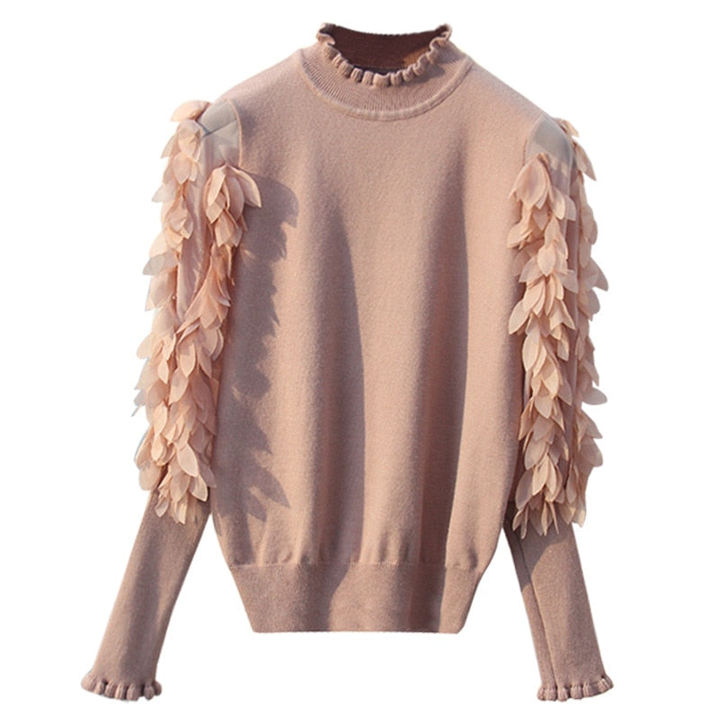 Ruffled Collar Knitted Pullover - Girly Got Style