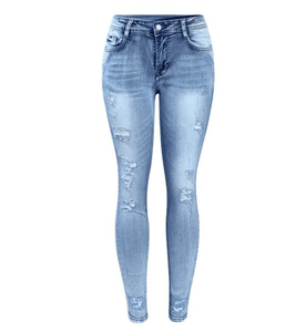Mid Waist Ripped True Denim Pencil Jeans - Girly Got Style