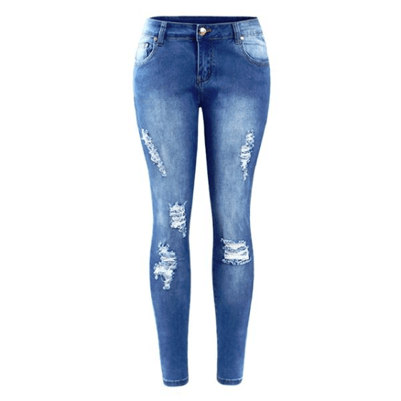 Ripped Fading Skinny Distressed Jeans - Girly Got Style
