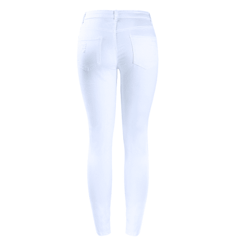 White Mid High Waist Stretch Ripped Skinny Jeans - Girly Got Style