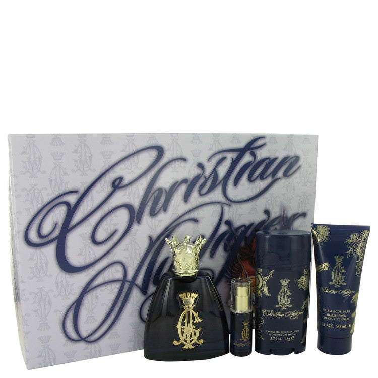 Christian Audigier by Christian Audigier Gift Set -- 3.4 oz Eau De Toilette Spray + .25 oz MIN EDT + 3 oz Body Wash + 2.75 Deodorant Stick for Men
