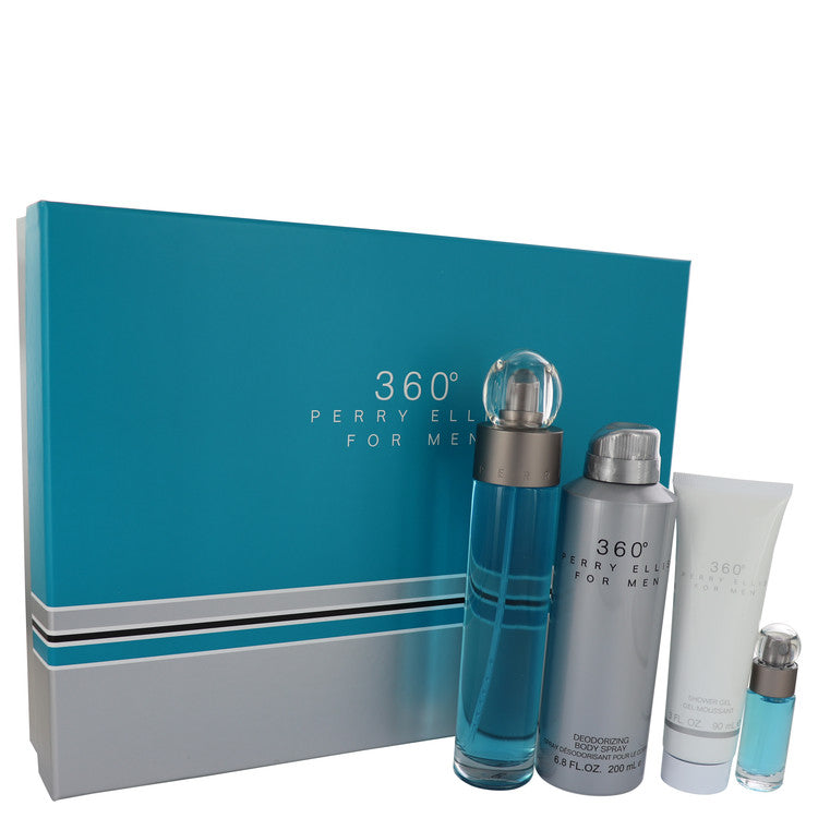 perry ellis 360 by Perry Ellis Gift Set -- 3.4 oz Eau De Toilette Spray + 6.8 oz Body Spray + 3 oz Shower Gel + .25 oz Mini EDT Spray for Men