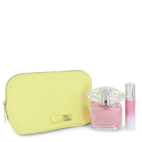 Bright Crystal by Versace Gift Set -- 3 oz Eau De Toilette Spray + 0.3 oz Mini EDT Spray In Versace Pouch for Women