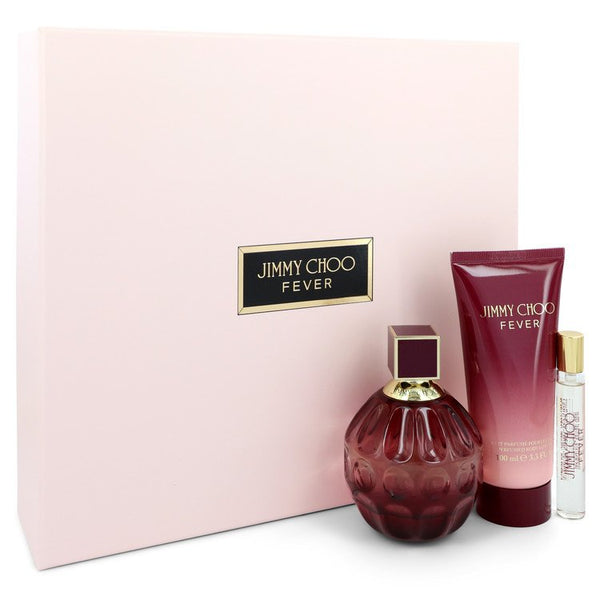Jimmy Choo Fever by Jimmy Choo Gift Set -- 3.3 oz Eau De Parfum Spray + 0.25 oz Mini EDP Spray + 3.3 oz Body Lotion for Women