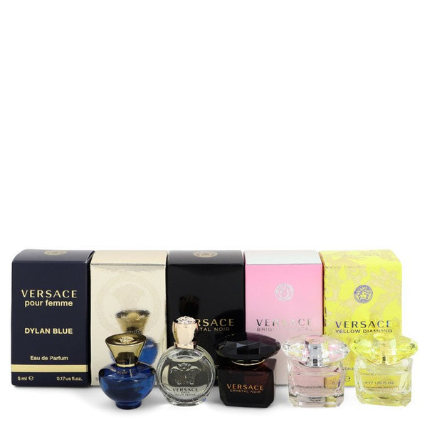 Versace Yellow Diamond by Versace Gift Set -- Miniature Collection Includes Versace Yellow Diamond, Bright Crystal, Crystal Noir, Eros and Pour Femme Dylan Blue all .17 oz sizes. for Women