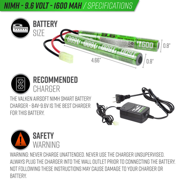 VALKEN AIRSOFT BATTERY - NIMH 8.4V 1600MAH MINI STICK STYLE  Airsoft Valken - The Back Alley Army Store
