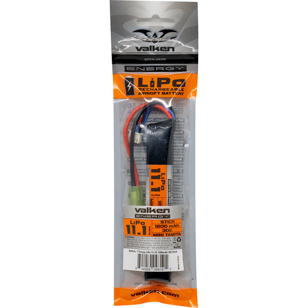 VALKEN AIRSOFT BATTERY - LIPO 11.1V 1200MAH 30C STICK STYLE  Airsoft Valken - The Back Alley Army Store