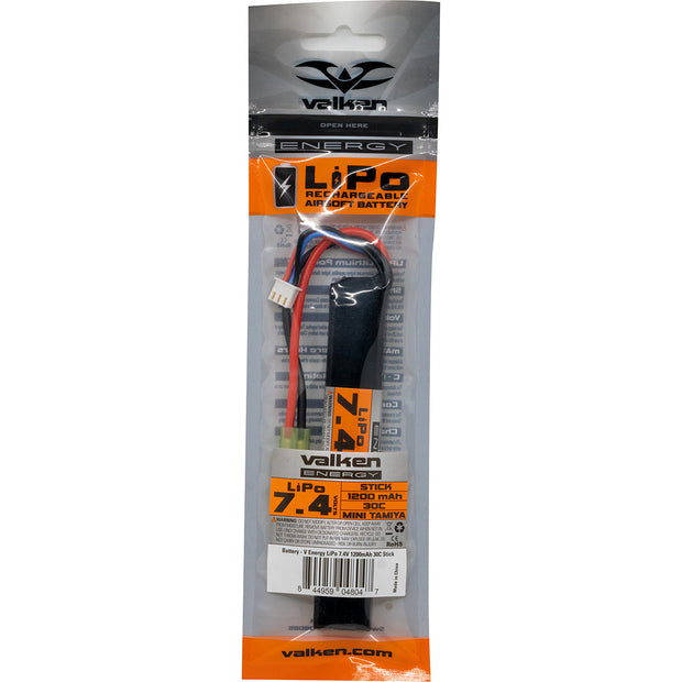 VALKEN AIRSOFT BATTERY - LIPO 7.4V 1200MAH 30C STICK STYLE  Airsoft Valken - The Back Alley Army Store