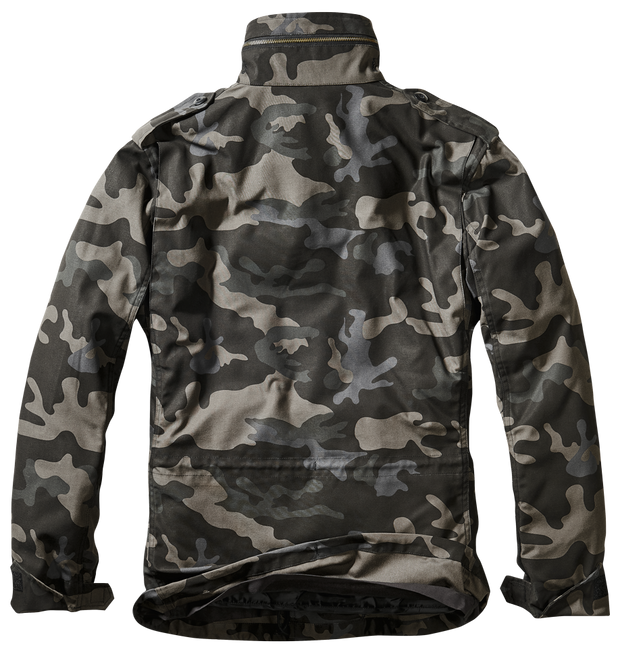 BRANDIT-M-65 Dark camo . back with hood in zipped collar and pleated shoulders for flexibility