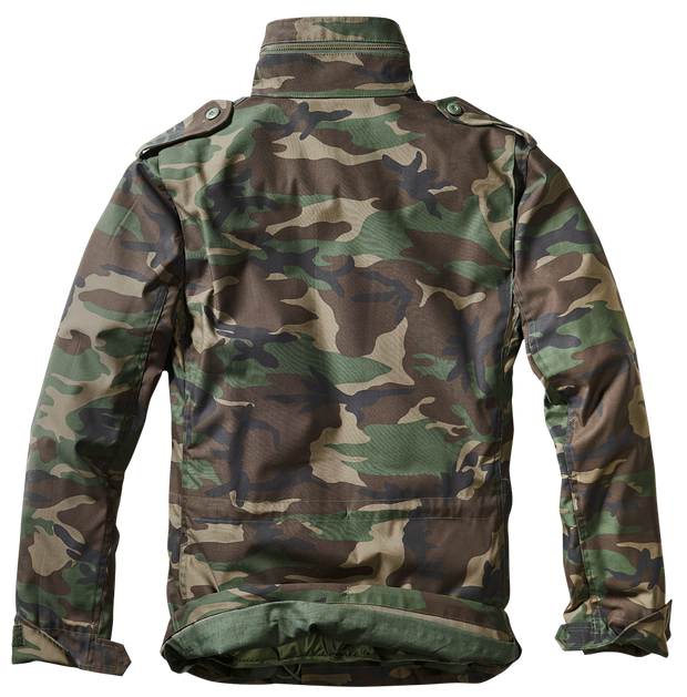 BRANDIT-M-65 Classic-Woodland camo. back with hood in zipped collar and pleated shoulders for flexibility