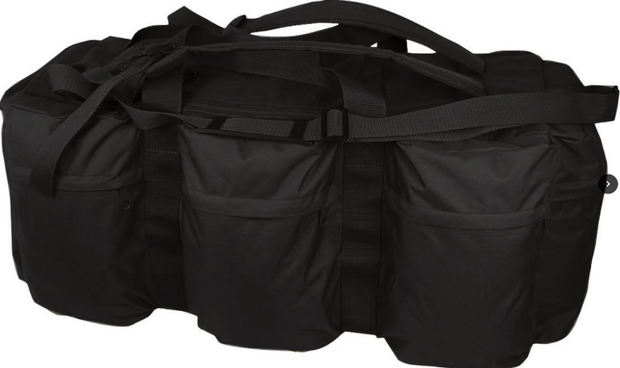 black assault holdall 100 litre with rucksack straps and side pockets