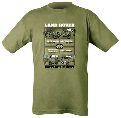 green t-shirt with 4 land rover vehicle images and information text. british military vehicles