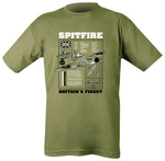 "green t-shirt with black,white and light green print. ""SPITFIRE"" header in white. Image of spitfire underneath with informational text"