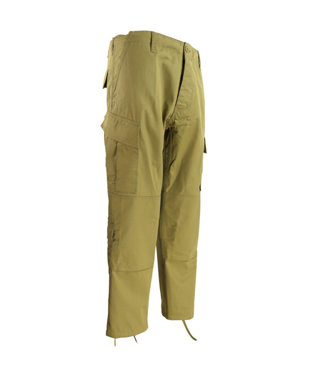 Assault Trouser ACU Style-Coyote brown/tan with slanted thigh pockets and button fly